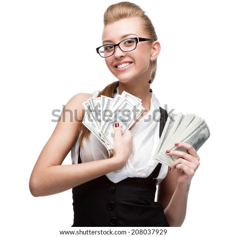 young cheerful caucasian businesswoman holding money isolated on white - stock photo