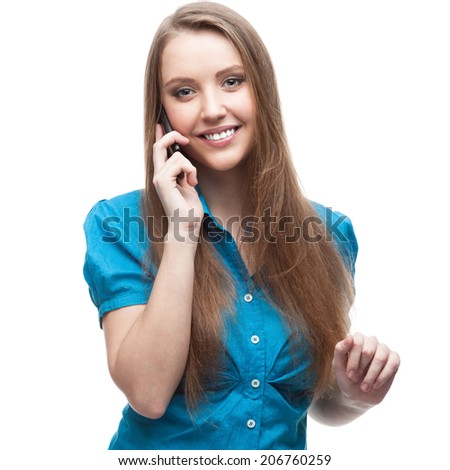 young cheerful caucasian businesswoman in blue blouse talking on cell phone isolated on white - stock photo