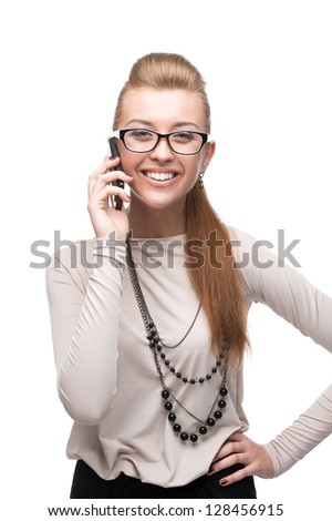young cheerful caucasian businesswoman talking on cell phone isolated on white - stock photo