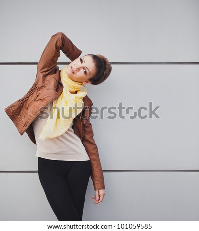 young cheerful fashion woman - stock photo