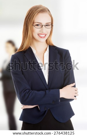 Young cheerful toothy smiling business woman. - stock photo