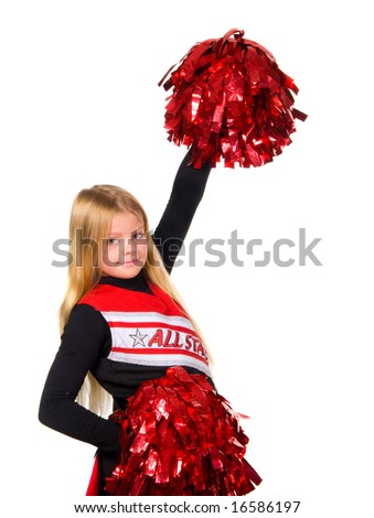 Young cheerleader smiling at camera shot over white - stock photo