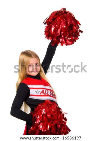 Young cheerleader smiling at camera shot over white - stock photo