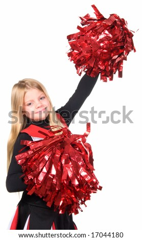 Young cheerleader with red pom-poms smiling at camera isolated over white background. - stock photo