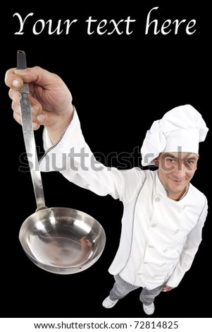 Young chef holding an empty ladle. Distorted image taken in studio with fish eye lens. Isolated on pure black background. - stock photo