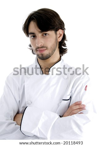 young chef posing with his arms crossed isolated on white background - stock photo