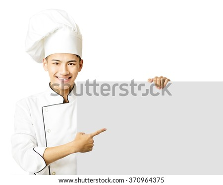 young chef showing an empty board  isolated on white - stock photo