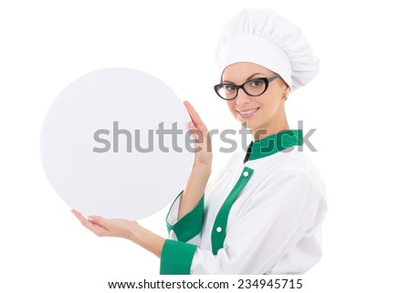 young chef woman in uniform holding big  tray with copy space isolated on white background - stock photo