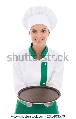 young chef woman in uniform showing empty plate isolated on white background - stock photo