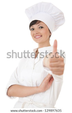 young chef woman in white uniform and hat with thumb up, white background