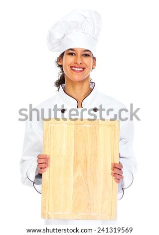 Young chef woman isolated over white background - stock photo