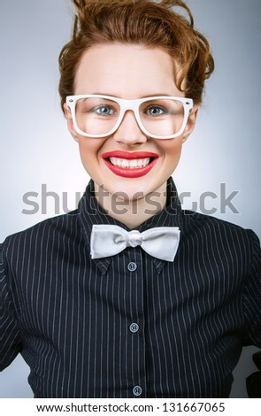 Young chief woman cheering, close up of formal boss - stock photo