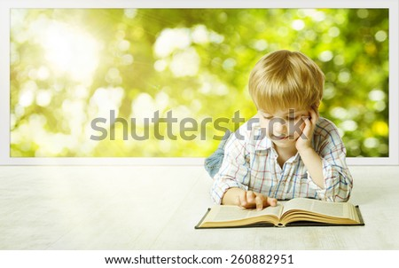 Young Child Boy Reading Book, Children Early Development, Small Kid School Education, Study and Knowledge Concept