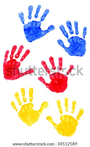 Young Child Hand Prints - stock photo