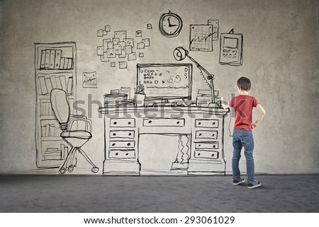 Young child in his room - stock photo