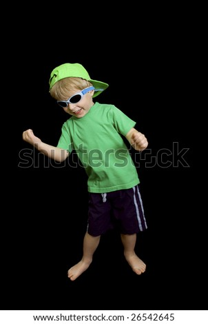 Young child pretending to play air guitar. - stock photo