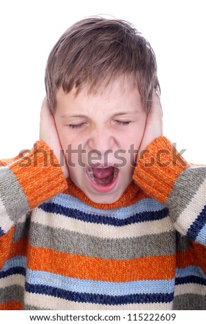 Young child shouting and cover his ear with hand - stock photo