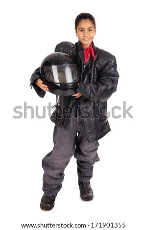 Young child with an adult biker gear and clothes