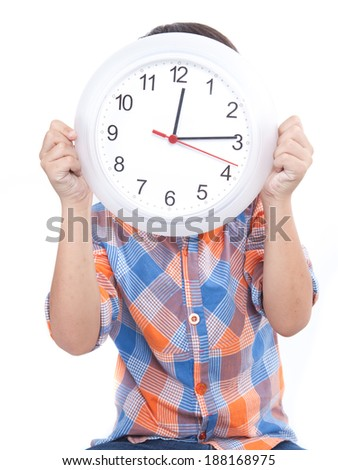 Young child with big clock