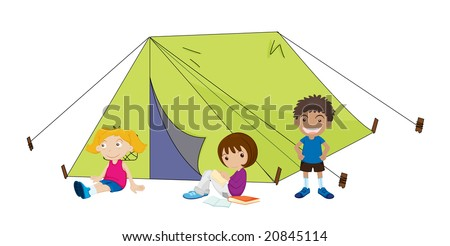 young children camping illustration on a white background