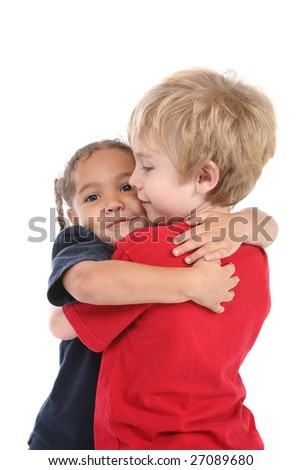 Young children hugging - stock photo