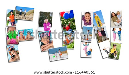 Young children playing laughing and having fun in summer and winter. Running, swimming, cycling, jumping and being active, the montage spells the word FUN - stock photo