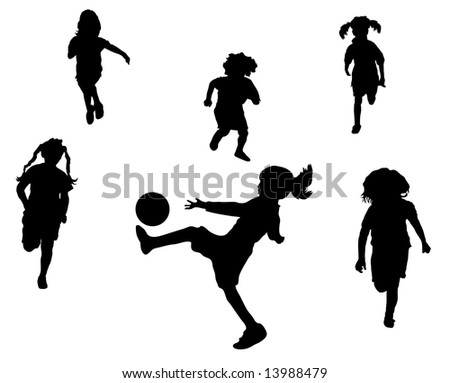 young children playing soccer or football - stock photo