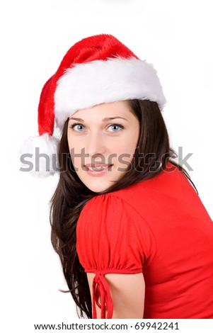 Young christmas woman smiling over white background