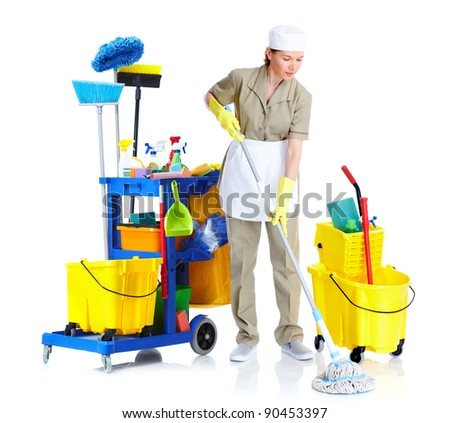Young cleaner maid woman. Isolated over white background. - stock photo