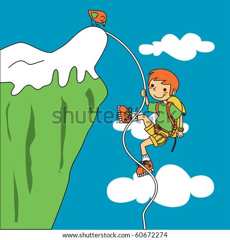 Young climber facing trouble as he ascends a mountain. Raster version of vector illustration ID: 60144955 - stock photo