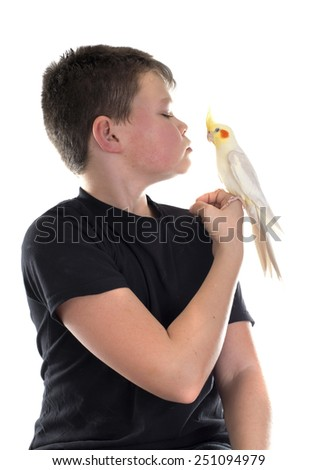 young Cockatiel and boy in front of white background - stock photo