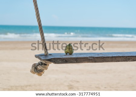 Young coconut on seaside swing with sand tropical beach background
