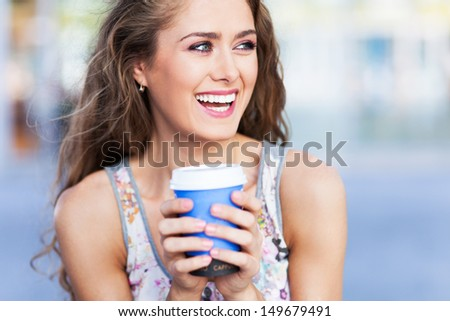 Young coffee drinker - stock photo