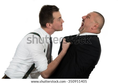 Young colleague attacking his manager