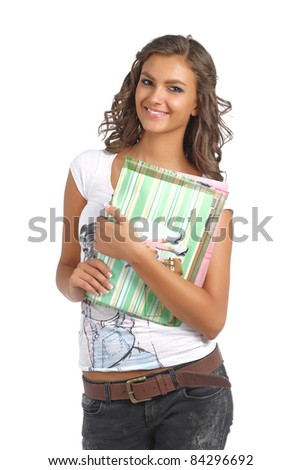 Young college girl with books and documents - stock photo