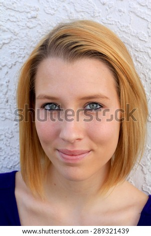 Young College Student Blonde Smiling and Happy - stock photo