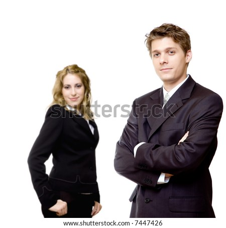 Young confident business couple - stock photo