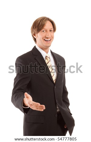 young confident businessman isolated on white background, lots of copyspace. - stock photo
