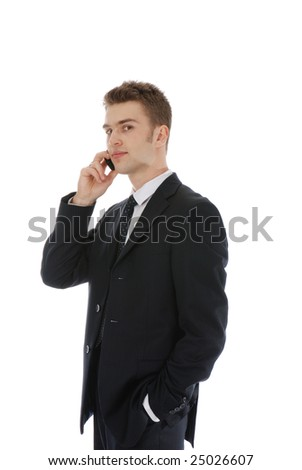 Young confident businessman isolated over white - stock photo