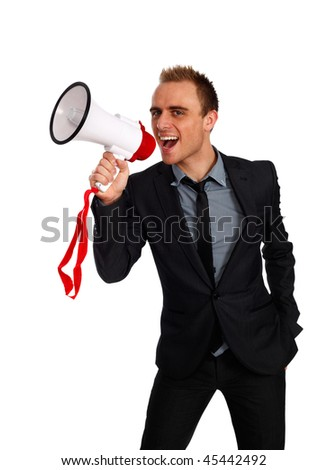 young confident businessman making an announcement with a megaphone
