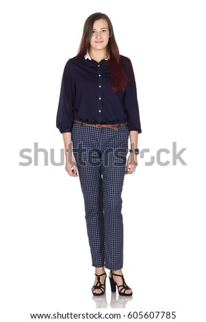 Young confident businesswoman in dark blue