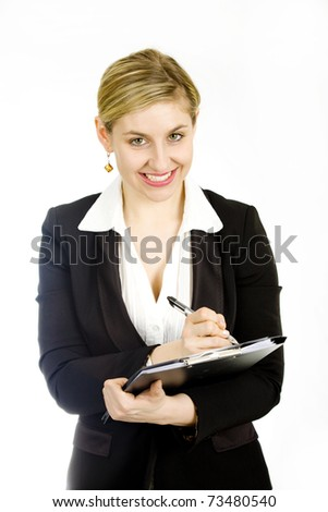 Young confident businesswoman posing