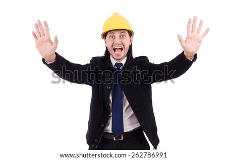Young construction architect isolated on the white - stock photo