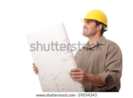 Young construction worker excited to start work on a new project - stock photo