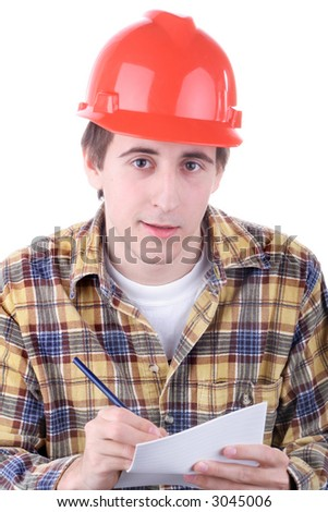 Young construction worker taking notes isolated on white