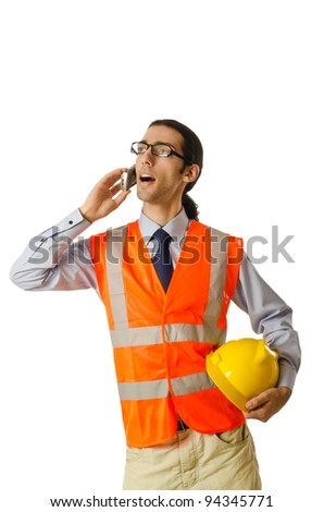 Young construction worker with hard hat - stock photo