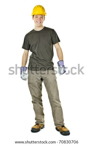 Young construction worker with hard hat full body standing isolated on white background