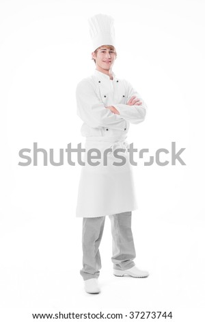 Young cook with arms crossed