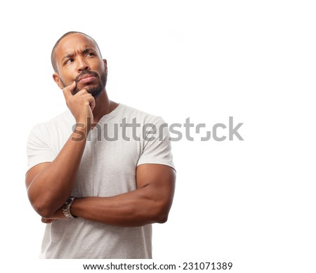 young cool black man doubting - stock photo