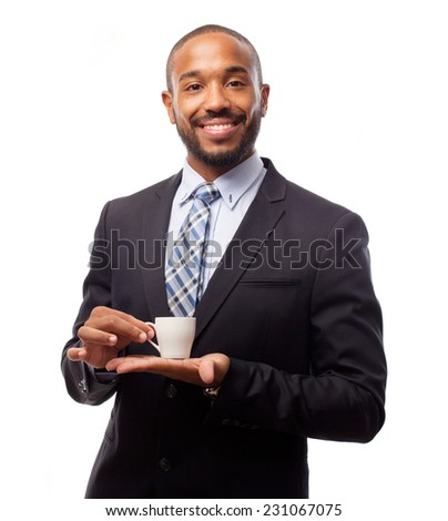 young cool black man having a coffee - stock photo